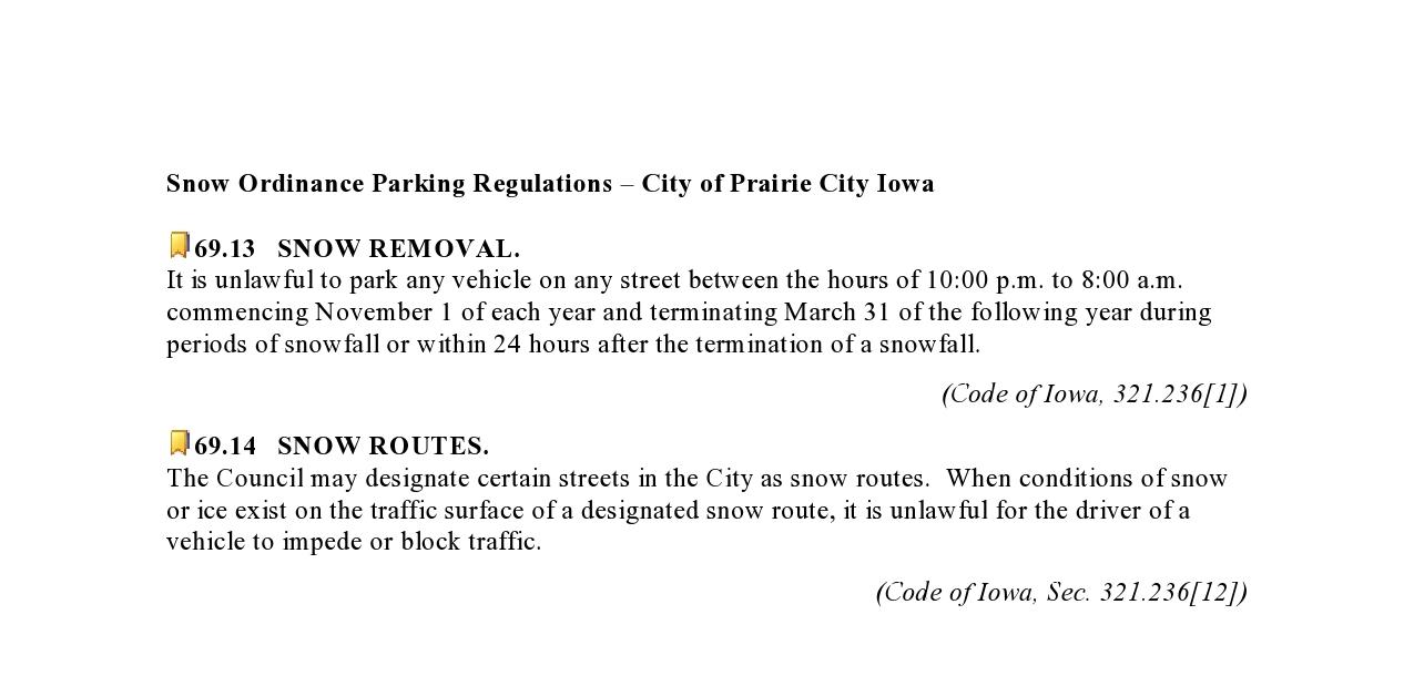 snow ordinance