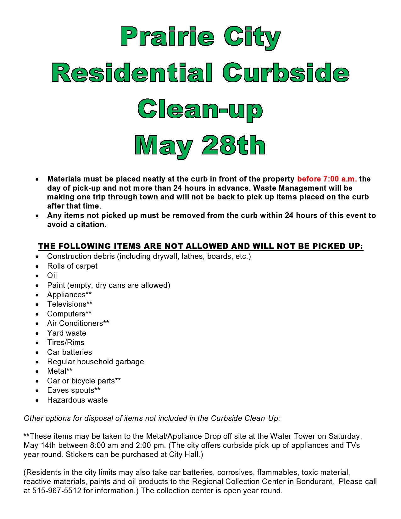 Curbside Clean-up Day