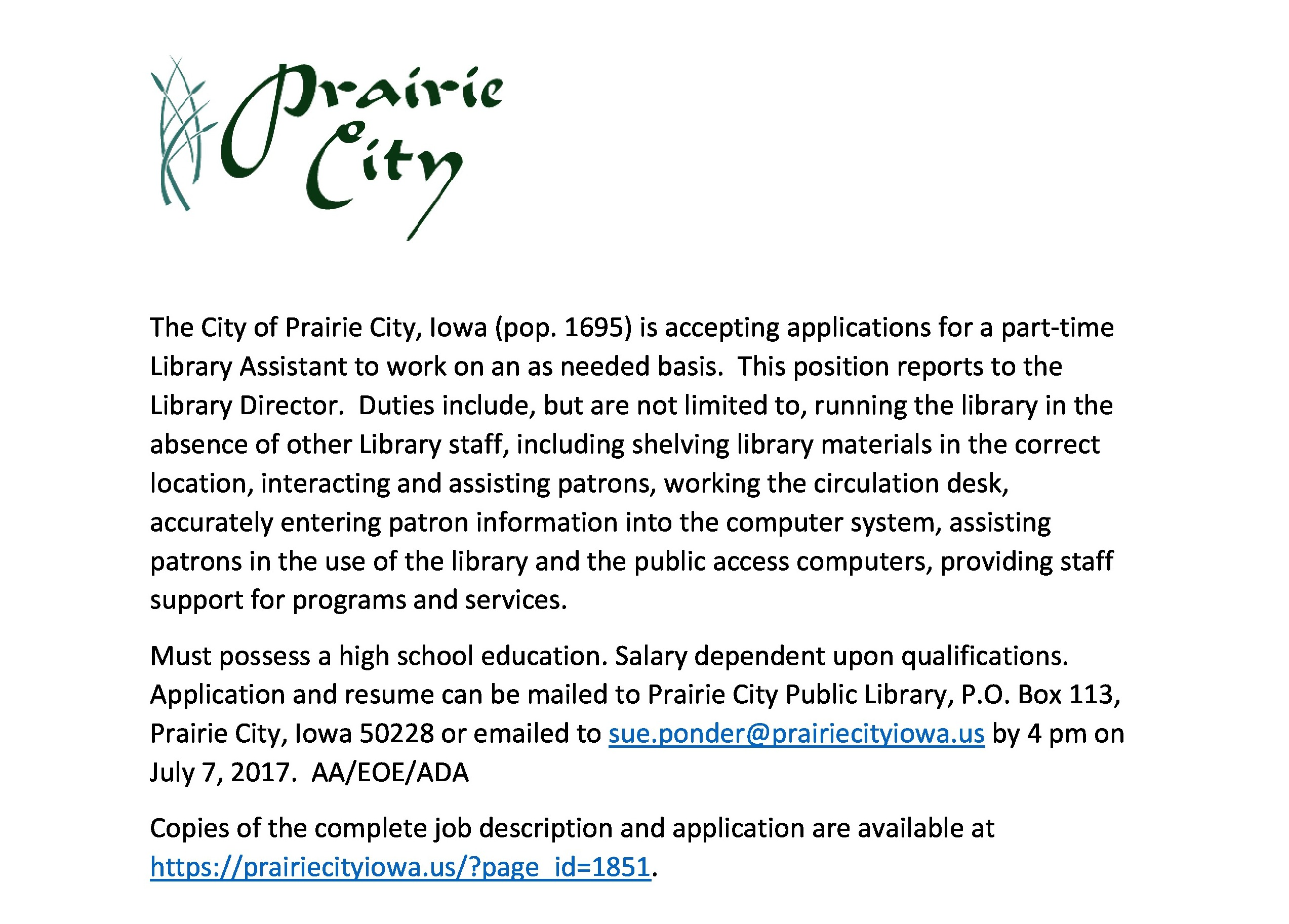Library Assistant Job Posting 2017 Page Fb Prairie City